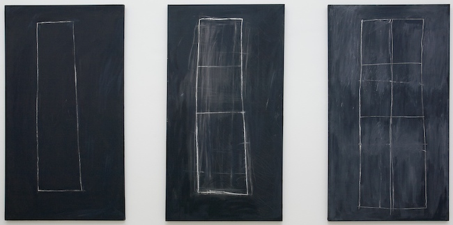 Cy Twombly, Problem I, II, III, 1966. Oil based house paint, wax crayon on canvas, 200 x 122 cm.