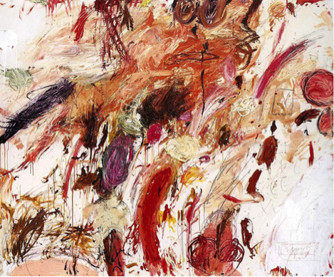 Cy Twombly, Ferragosto V, 1961. Oil paint, wax crayon, lead pencil on canvas, 164.5 x 200 cm. Private Collection. Image courtesy Thomas Ammann Fine Art, Zurich.