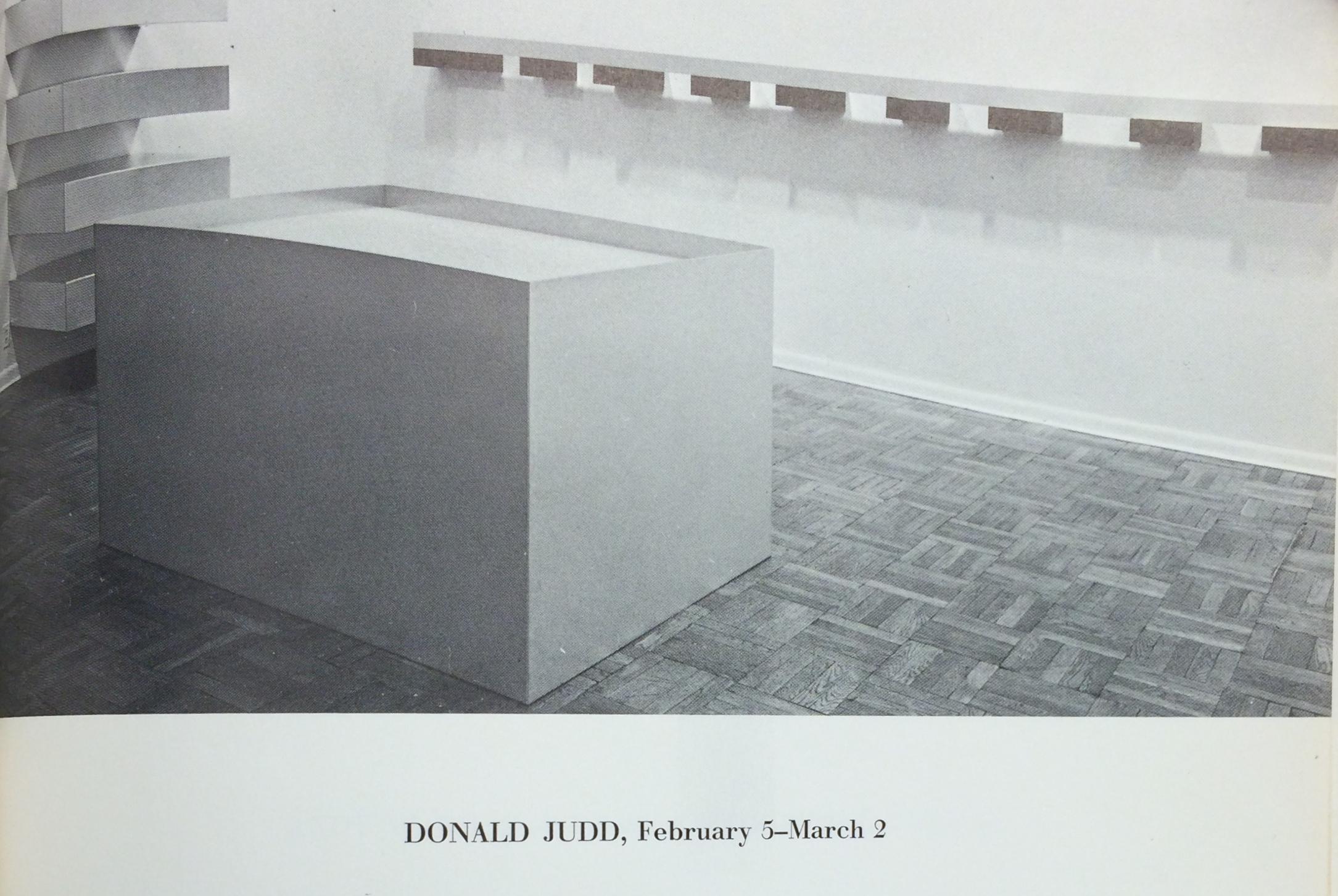 "Installation photograph of ""Donald Judd"" at Leo Castelli Gallery, 1966."