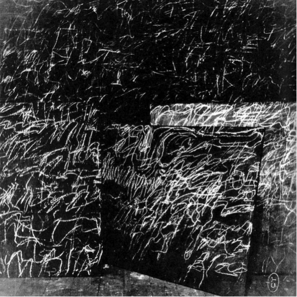 Cy Twombly's canvases (including Panorama at back) in Robert Rauschenberg's Fulton Street studio, ca. 1954.  Image courtesy Le temps retrouvé, Cy Twombly photographe & artistes associés, Collection Lambert (Avignon, été-automne 2011) via The Plumebook Café.
