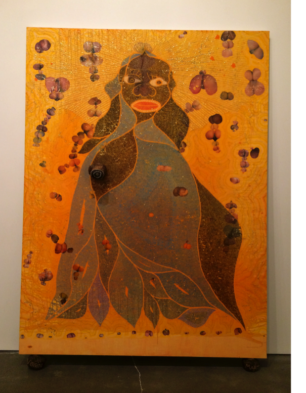Chris Ofili, The Holy Virgin Mary, 1996. Paper collage, oil paint, glitter, polyester resin, map pins & elephant dung on linen, 96 x 72 in. Photograph by the author.