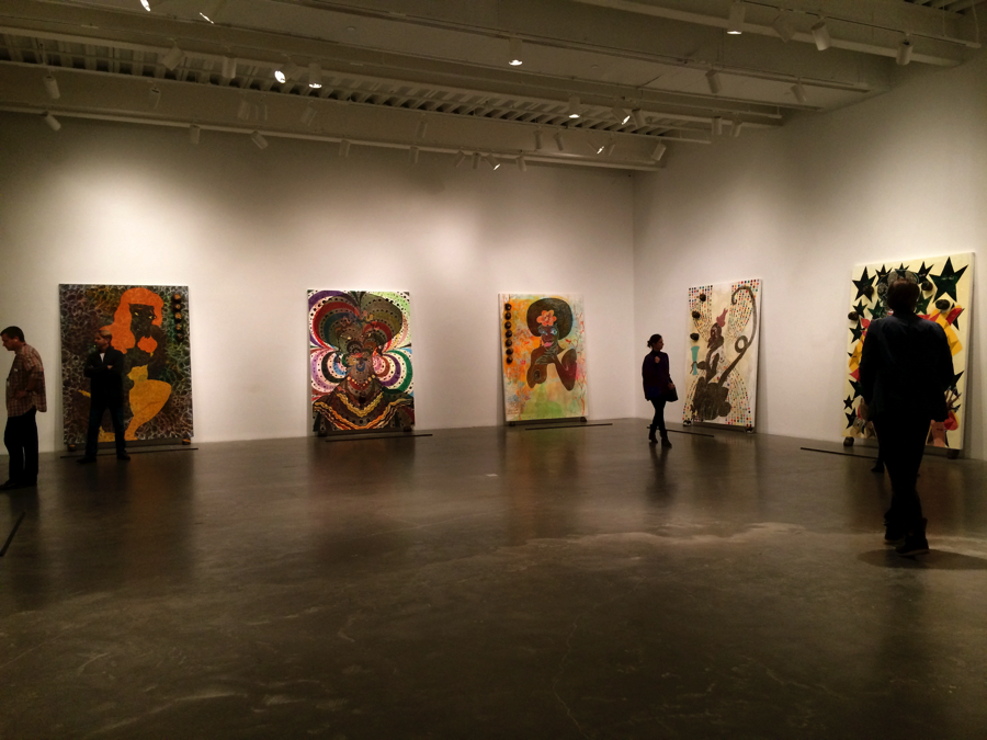 """Installation image of the first floor of """"Chris Ofili: Night and Day"""" exhibition at The New Museum Photograph by the author."""