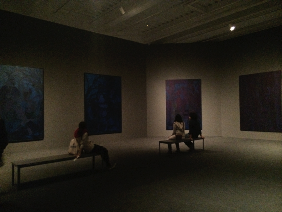 """Installation image of the second floor of """"Chris Ofili: Night and Day"""" exhibition at The New Museum. Photograph by the author."""