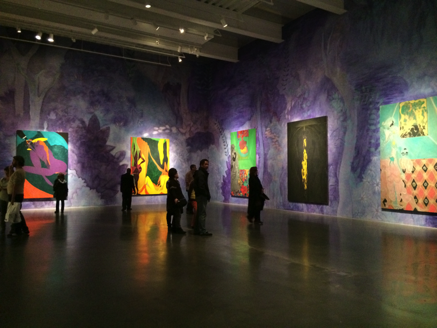 """Installation image of the third floor of """"Chris Ofili: Night and Day"""" exhibition at The New Museum. Photograph by the author."""