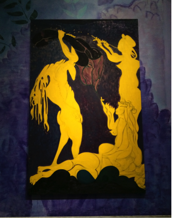 Chris Ofili, Ovid-Actaeon, 2011-12. Oil and charcoal on linen, 125 x 78 in. Photograph by the author.