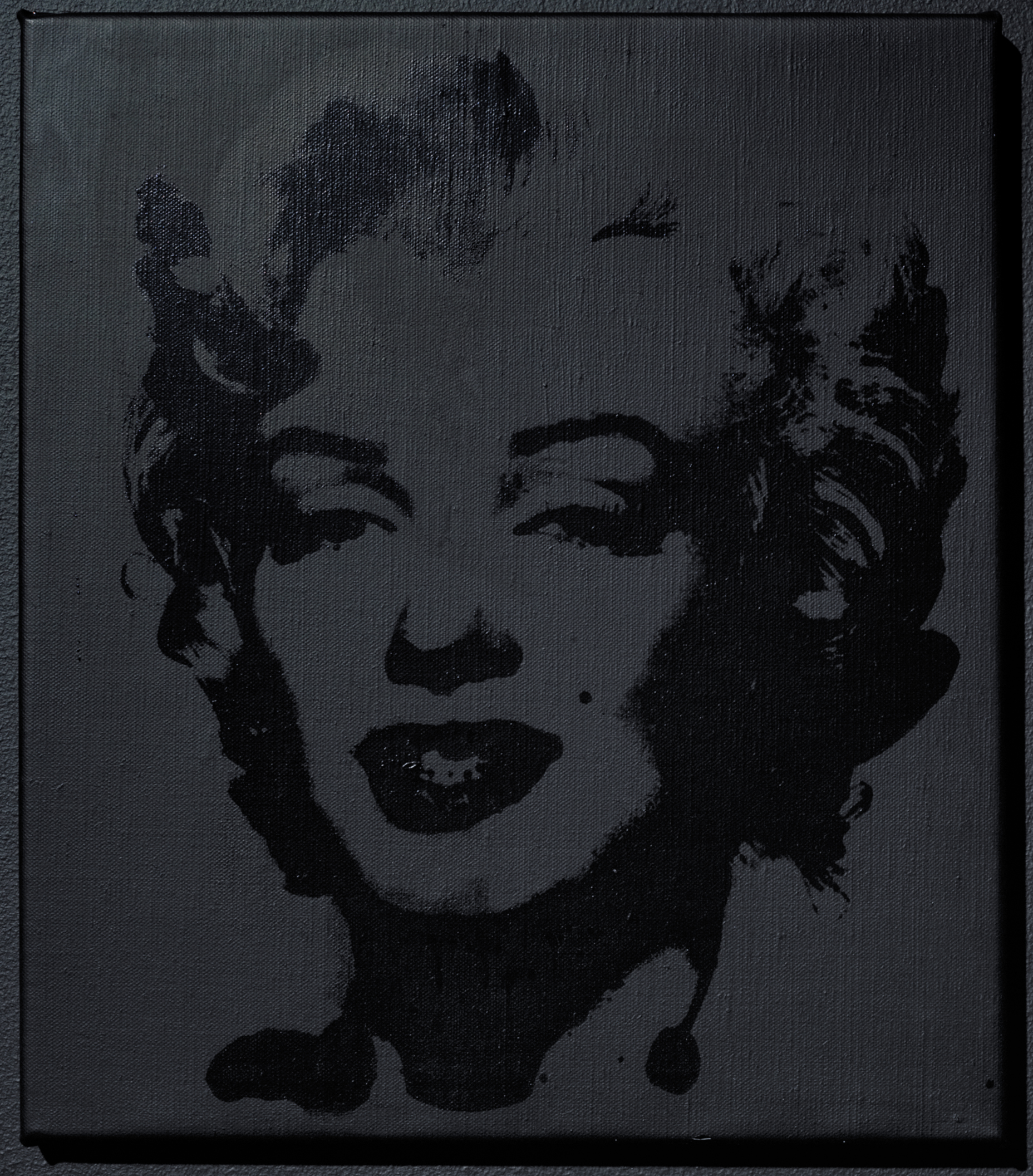 Elaine Sturtevant. Warhol Black Marilyn. 2004. Synthetic polymer silkscreen and acrylic on canvas. 15 15/16 x 13 7/8 in. (40.5 x 35.2 cm). Ringier Collection, Switzerland. Courtesy Anthony Reynolds Gallery, London. © Estate Sturtevant, Paris