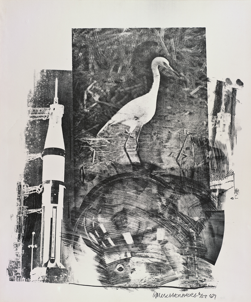Robert Rauschenberg, Horn (Stoned Moon), 1969; lithograph, 41 1/4 in. x 34 in. (104.78 cm x 86.36 cm); Collection SFMOMA, Gift of Harry W. and Mary Margaret Anderson; © Robert Rauschenberg Foundation and Gemini G.E.L. / Licensed by VAGA, New York, NY; published by Gemini G.E.L. 