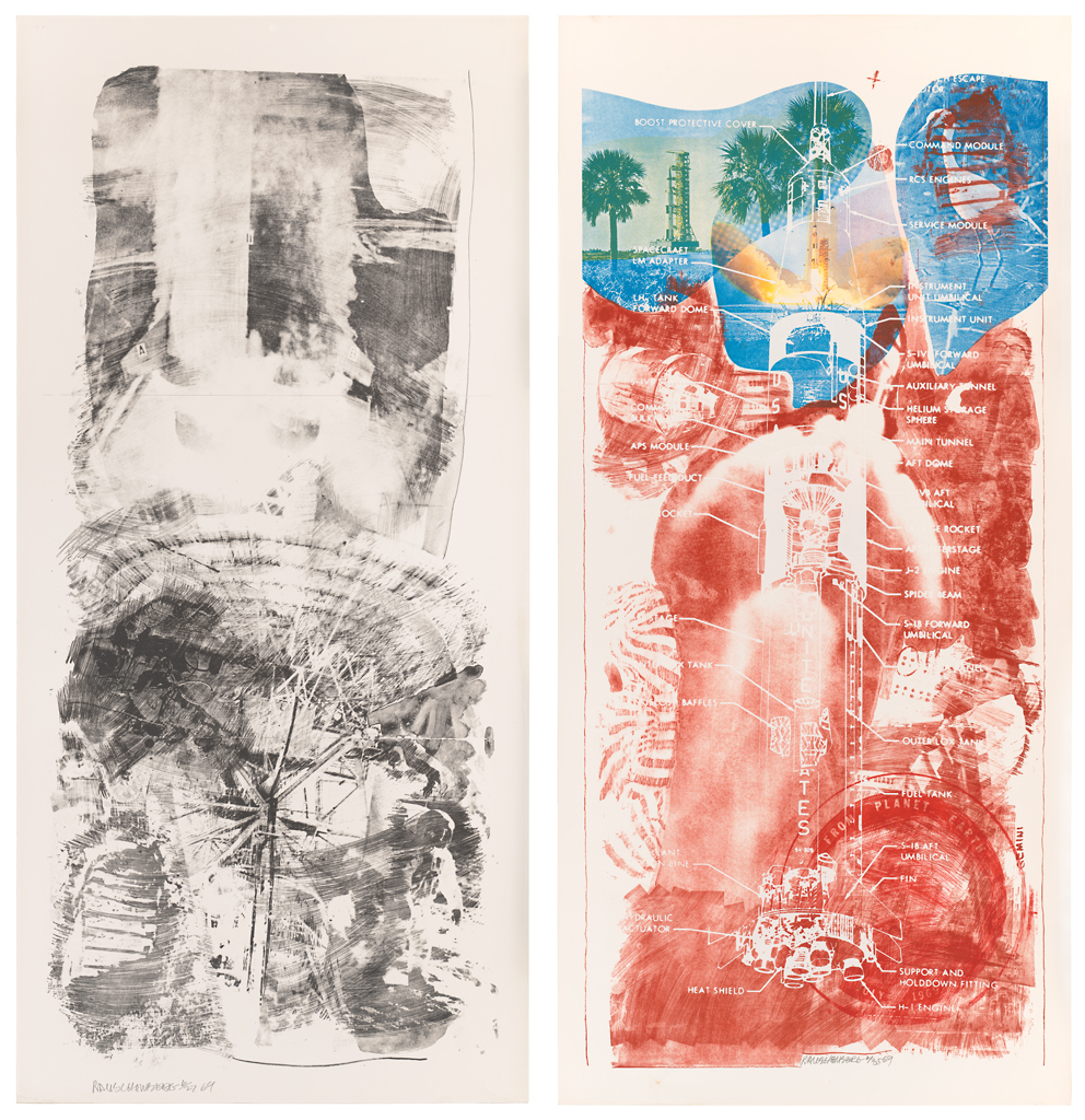 Left: Robert Rauschenberg, Waves (Stoned Moon), 1969; lithograph, 89 in. x 42 in. (226.06 cm x 106.68 cm); Collection SFMOMA, Gift of Harry W. and Mary Margaret Anderson; © Robert Rauschenberg Foundation and Gemini G.E.L. / Licensed by VAGA, New York, NY; published by Gemini G.E.L. Image courtesy SFMOMA. Right: Robert Rauschenberg, Sky Garden (Stoned Moon), 1969; lithograph and screen print, 89 in. x 42 in. (226.06 cm x 106.68 cm); Collection SFMOMA, Gift of Harry W. and Mary Margaret Anderson; © Robert Rauschenberg Foundation and Gemini G.E.L. / Licensed by VAGA, New York, NY; published by Gemini G.E.L.  Image courtesy SFMOMA.
