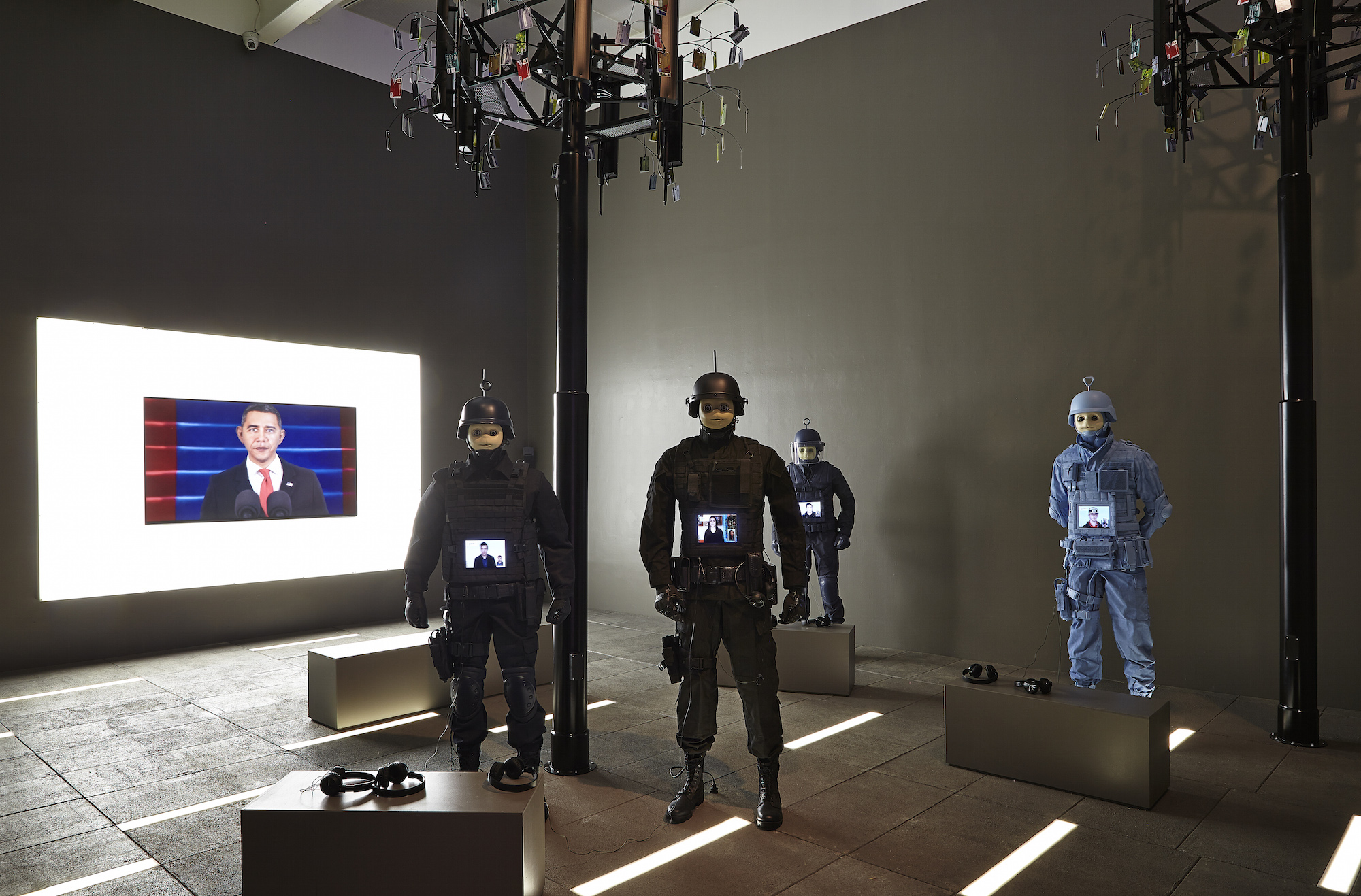 Installation view of Surround Audience featuring Josh Kline. Courtesy of the New Museum. Photo credit: Benoit Pailley