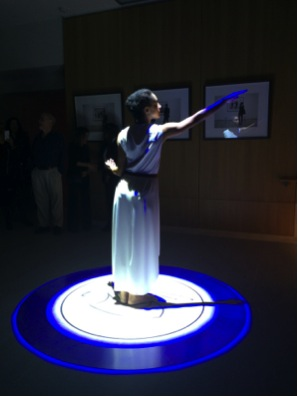 Still from Triple Echo, dancer performing in front of Being-seen-by-another is he truth of seeing the other by Georgia Kotretsos, 2004-5. Photo by IFA student, Jennifer Contreras.