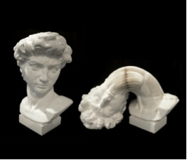 Example of the work displayed at the fair: Bust of David, 2015, Paper, 46 1/2 x 27 1/2 x 23 5/8 in, Image from Klein Sun Gallery.