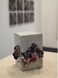 Tim Gratkowski, Paper-Crete #20, 2013, paper and concrete 4 ½ x 4 x 4 ½ in., photo by author.