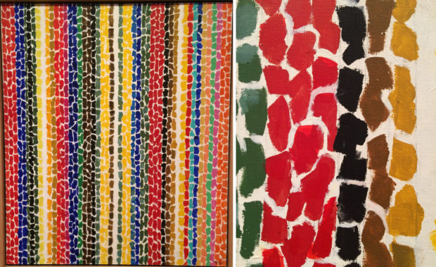 Alma Thomas, Breeze Rustling Through Fall Flowers, 1968, acrylic on canvas. Detail of Title.