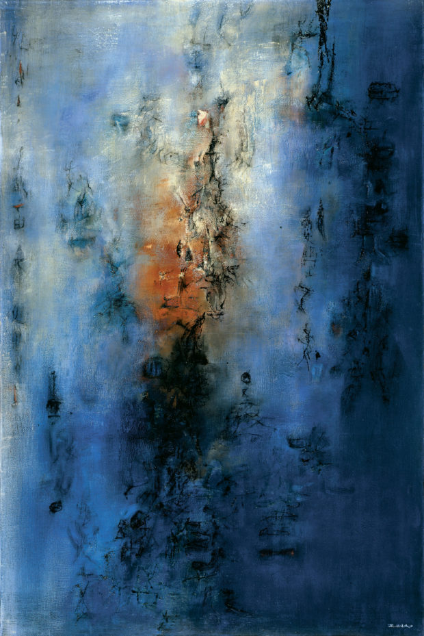 Hommage à Chu Yun—05.05.55 (Homage to Chu Yun—05.05.55) 1955 Oil on canvas 76 3⁄4 × 51 1⁄8 in. (195 × 130 cm) Private collection, Switzerland ©Zao Wou-Ki ProLitteris, Zurich. Photography by Dennis Bouchard