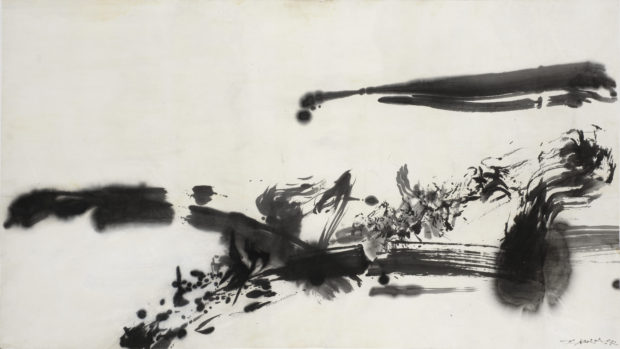 Sans titre (Untitled) 1972 India ink on paper 26 3⁄16 × 47 1⁄16 in. (66.5 × 119.5 cm) Private collection, Switzerland ©Zao Wou-Ki ProLitteris, Zurich. Photography by Antoine Mercier