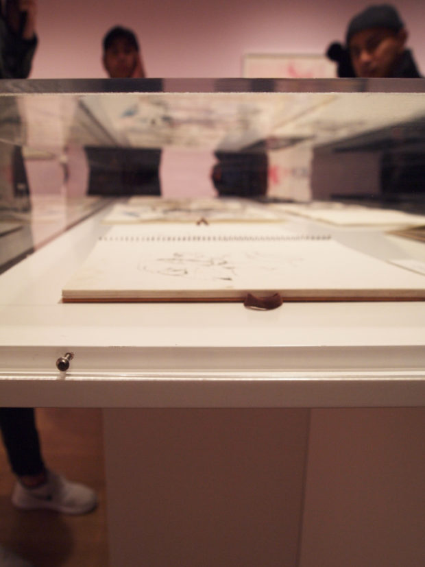 Close-up of one of the vitrines in the center of the exhibition space, The Drawing Center. Photo by author.