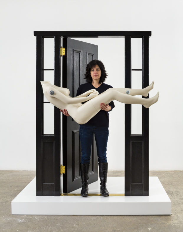Jennifer Rubell, Artist posing with Threshold, 2017. Photo courtesy of Sargent's Daughters.
