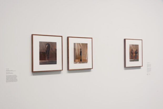 Brooklyn Museum, Installation view, John Edmonds: A Sidelong Glance, October 23, 2020 through August 8, 2021. (Photo: Jonathan Dorado, Brooklyn Museum). From left: Alpha (2018), Still Life II (2018), and Tourist items (from Liberia) (2019).
